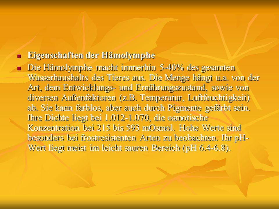 Eigenschaften der Hämolymphe Eigenschaften der Hämolymphe Die Hämolymphe macht immerhin 5-40% des gesamten Wasserhaushalts des Tieres aus. Die Menge h