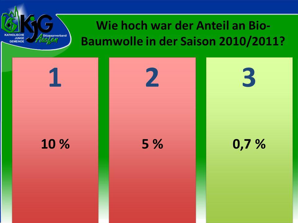 2 2 1 1 3 3 10 %5 %0,7 % Wie hoch war der Anteil an Bio- Baumwolle in der Saison 2010/2011?