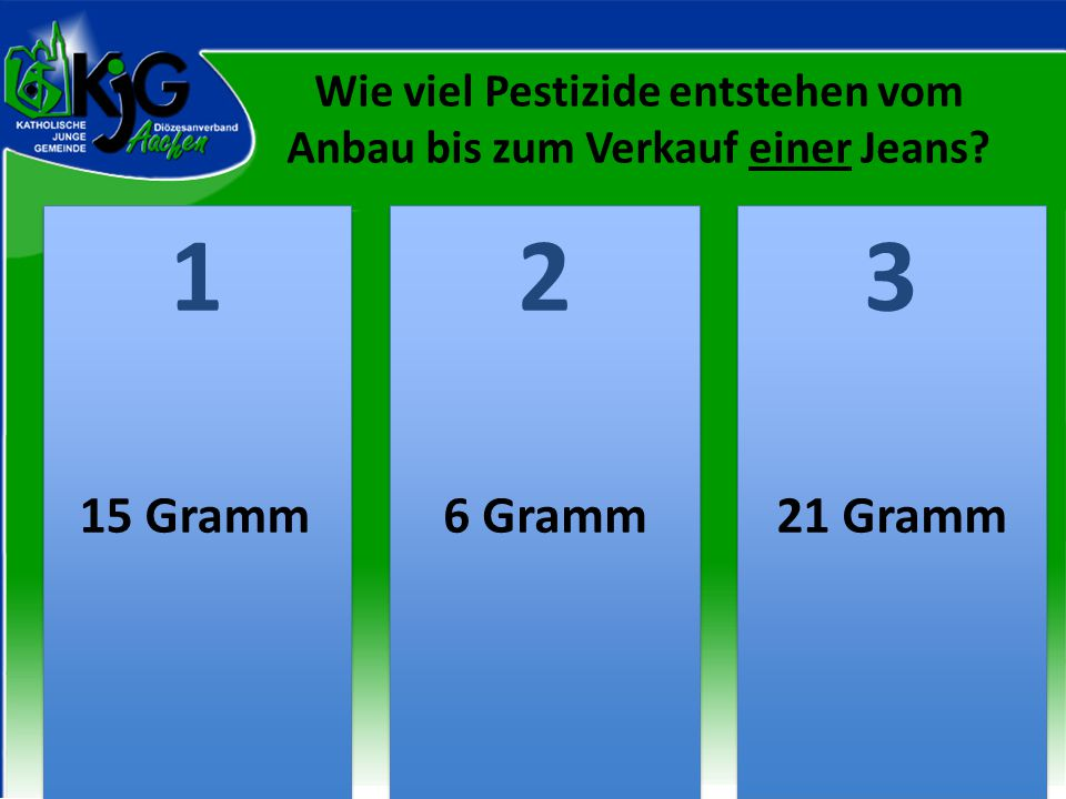 Wie viel Pestizide entstehen vom Anbau bis zum Verkauf einer Jeans? 2 2 1 1 3 3 15 Gramm6 Gramm21 Gramm