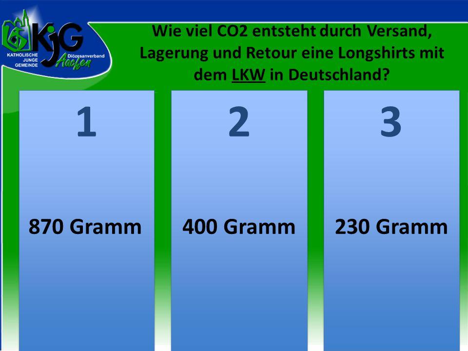 Wie viel CO2 entsteht durch Versand, Lagerung und Retour eine Longshirts mit dem LKW in Deutschland? 2 2 1 1 3 3 870 Gramm400 Gramm230 Gramm