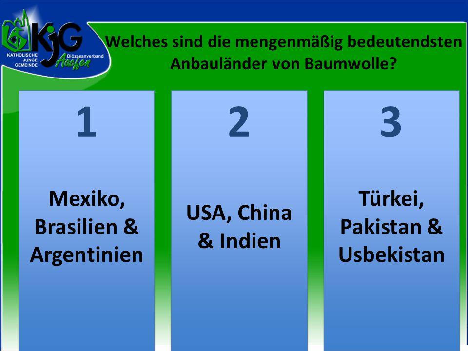 Welches sind die mengenmäßig bedeutendsten Anbauländer von Baumwolle? 2 2 1 1 3 3 Mexiko, Brasilien & Argentinien USA, China & Indien Türkei, Pakistan