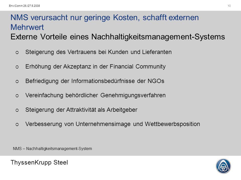 ThyssenKrupp Steel 10EnviComm 26./27.5.2008 NMS verursacht nur geringe Kosten, schafft externen Mehrwert Externe Vorteile eines Nachhaltigkeitsmanagem