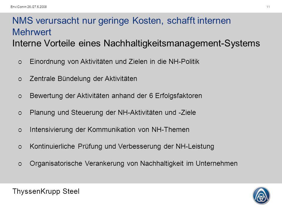ThyssenKrupp Steel 11EnviComm 26./27.5.2008 NMS verursacht nur geringe Kosten, schafft internen Mehrwert Interne Vorteile eines Nachhaltigkeitsmanagem