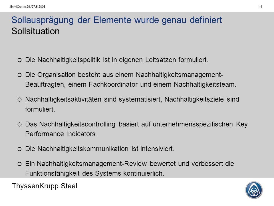 ThyssenKrupp Steel 16EnviComm 26./27.5.2008  Die Nachhaltigkeitspolitik ist in eigenen Leitsätzen formuliert.  Die Organisation besteht aus einem Na