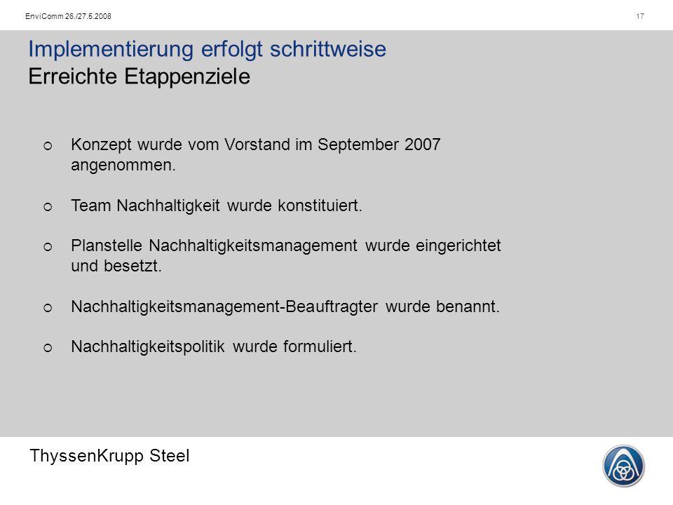 ThyssenKrupp Steel 17EnviComm 26./27.5.2008 Implementierung erfolgt schrittweise Erreichte Etappenziele  Konzept wurde vom Vorstand im September 2007