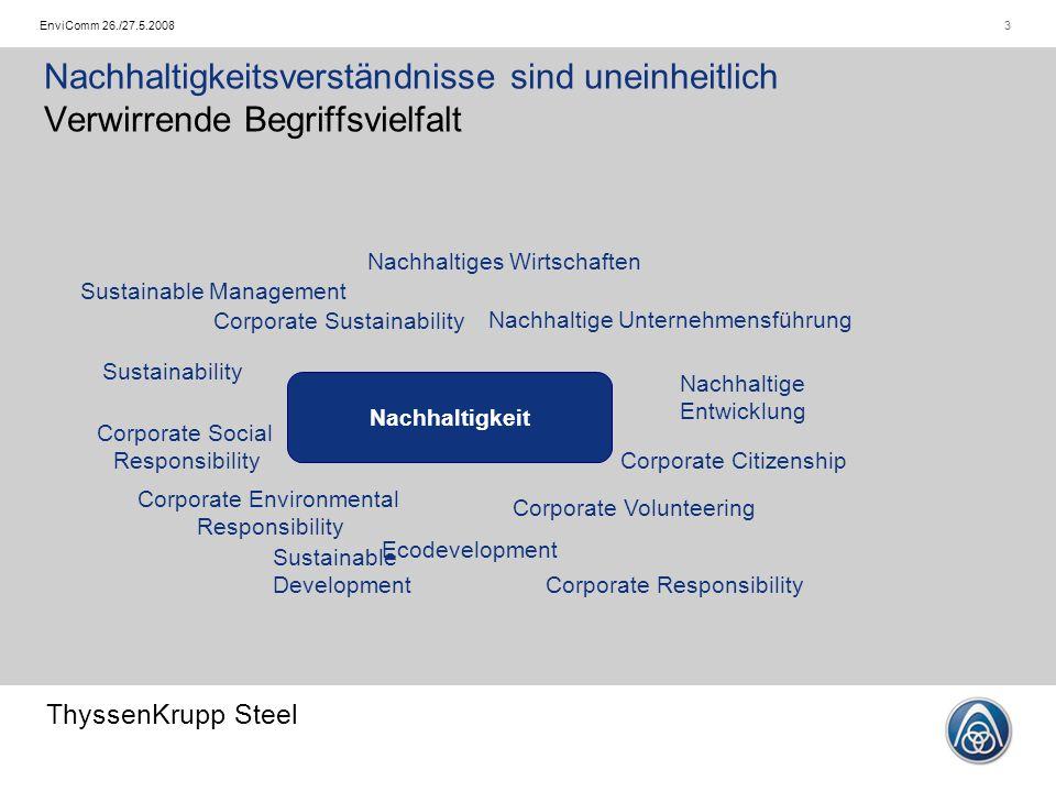 ThyssenKrupp Steel 4EnviComm 26./27.5.2008 Das Nachhaltigkeitskonzept von ThyssenKrupp Steel Vortragsgliederung   Einführung in das Thema   Nachhaltigkeit von Grundstoffen   Unser Nachhaltigkeitsverständnis   Konzeption unseres Nachhaltigkeitsmanagements