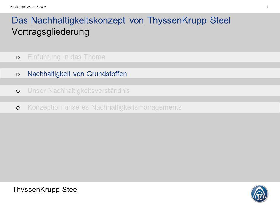 ThyssenKrupp Steel 4EnviComm 26./27.5.2008 Das Nachhaltigkeitskonzept von ThyssenKrupp Steel Vortragsgliederung   Einführung in das Thema   Nachha