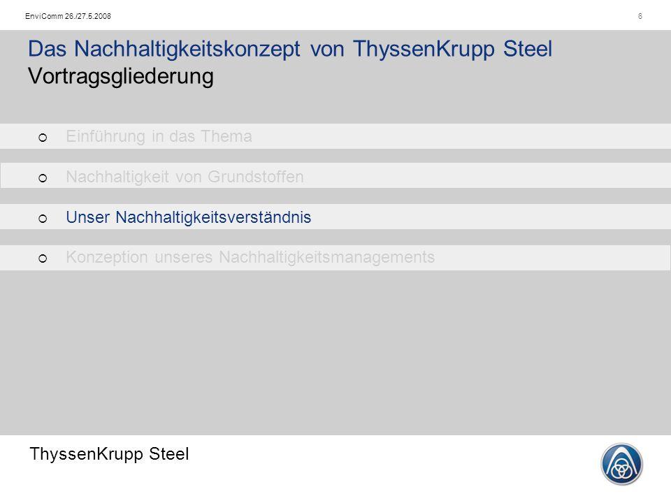 ThyssenKrupp Steel 6EnviComm 26./27.5.2008 Das Nachhaltigkeitskonzept von ThyssenKrupp Steel Vortragsgliederung   Einführung in das Thema   Nachhaltigkeit von Grundstoffen   Unser Nachhaltigkeitsverständnis   Konzeption unseres Nachhaltigkeitsmanagements