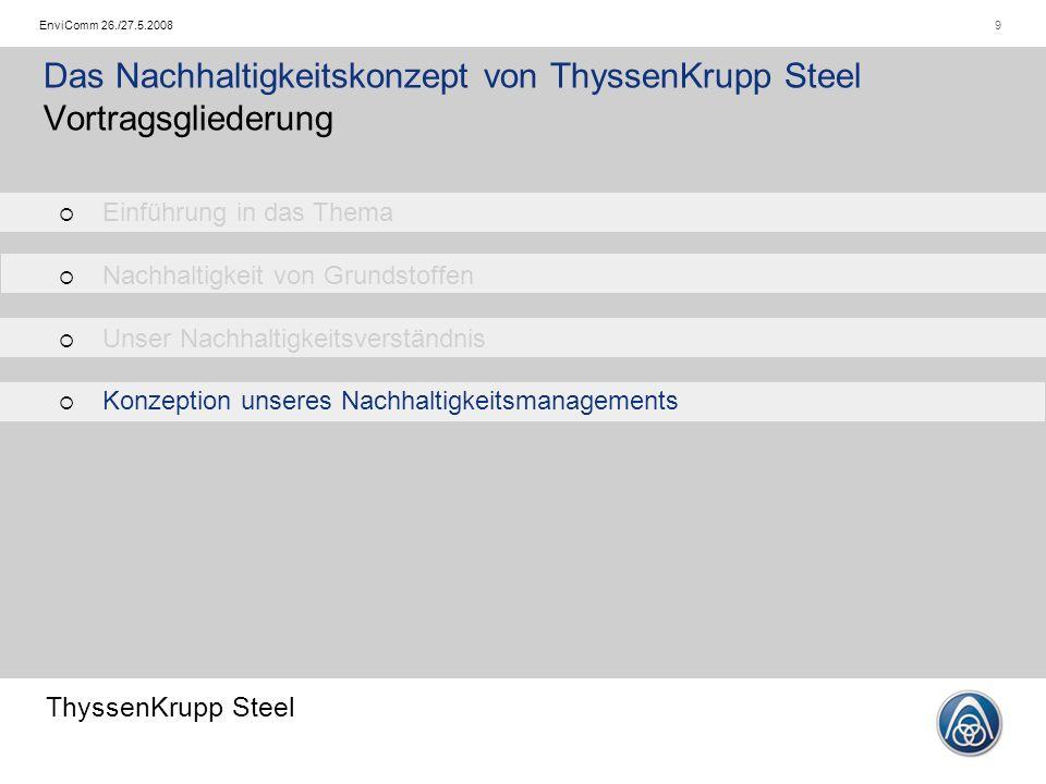 ThyssenKrupp Steel 9EnviComm 26./27.5.2008 Das Nachhaltigkeitskonzept von ThyssenKrupp Steel Vortragsgliederung   Einführung in das Thema   Nachhaltigkeit von Grundstoffen   Unser Nachhaltigkeitsverständnis   Konzeption unseres Nachhaltigkeitsmanagements