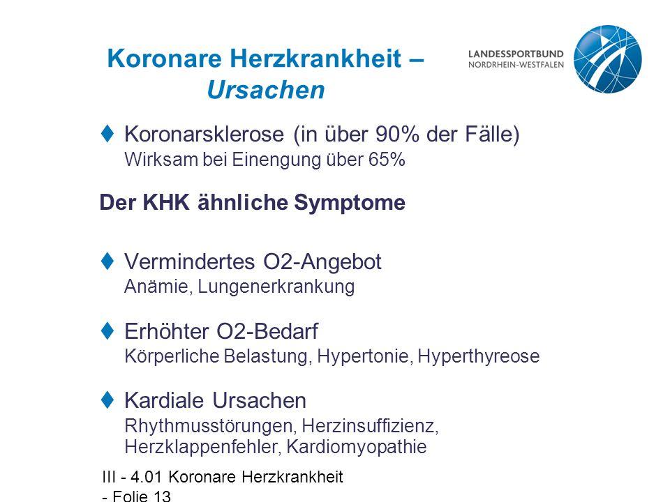 III - 4.01 Koronare Herzkrankheit - Folie 13 Koronare Herzkrankheit – Ursachen  Koronarsklerose (in über 90% der Fälle) Wirksam bei Einengung über 65