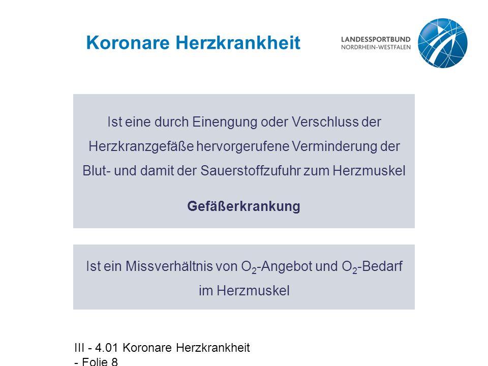 III - 4.01 Koronare Herzkrankheit - Folie 19 Lokalisation der Herzkranzgefäßverengungen  Stamm der li.