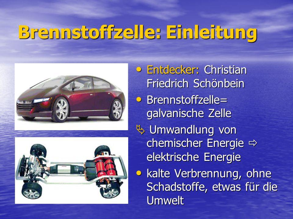 Brennstoffzelle: Einleitung Entdecker: Christian Friedrich Schönbein Entdecker: Christian Friedrich Schönbein Brennstoffzelle= galvanische Zelle Brenn