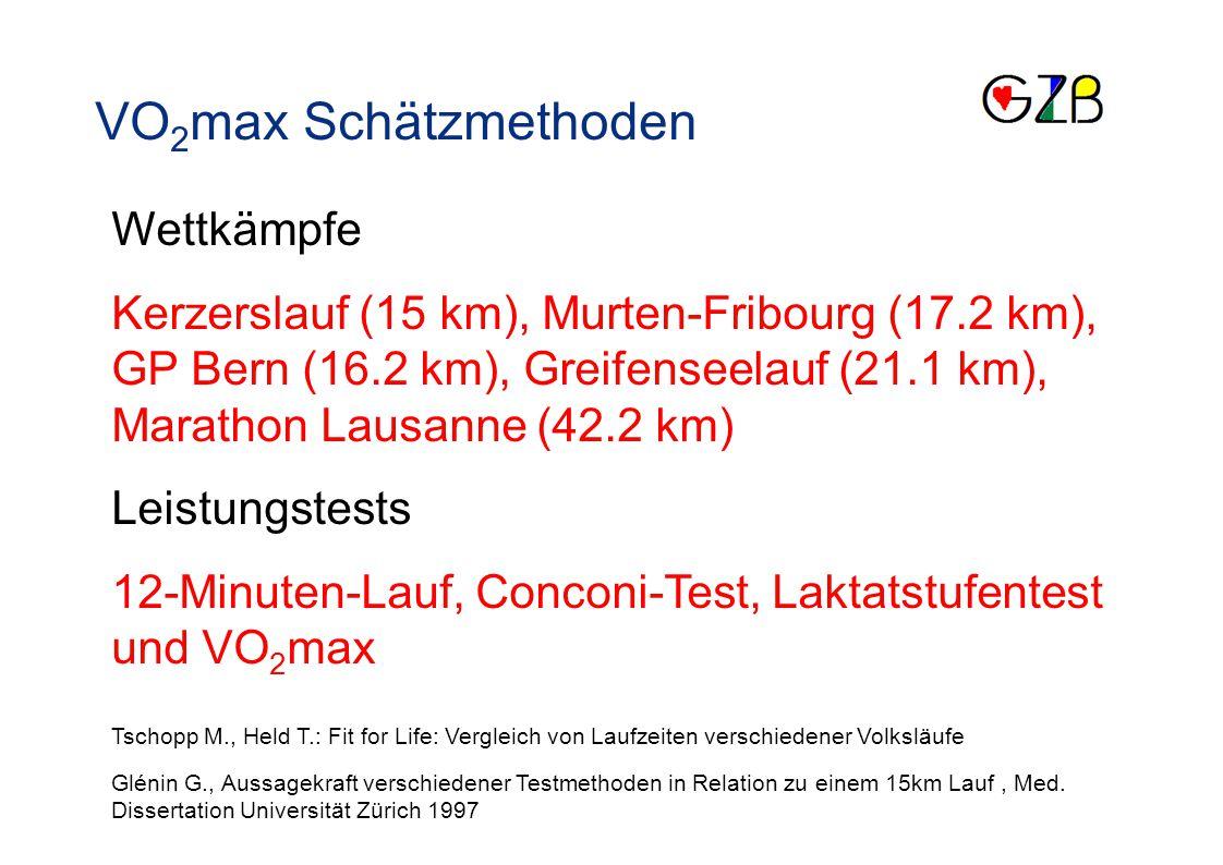 VO 2 max Schätzmethoden Wettkämpfe Kerzerslauf (15 km), Murten-Fribourg (17.2 km), GP Bern (16.2 km), Greifenseelauf (21.1 km), Marathon Lausanne (42.