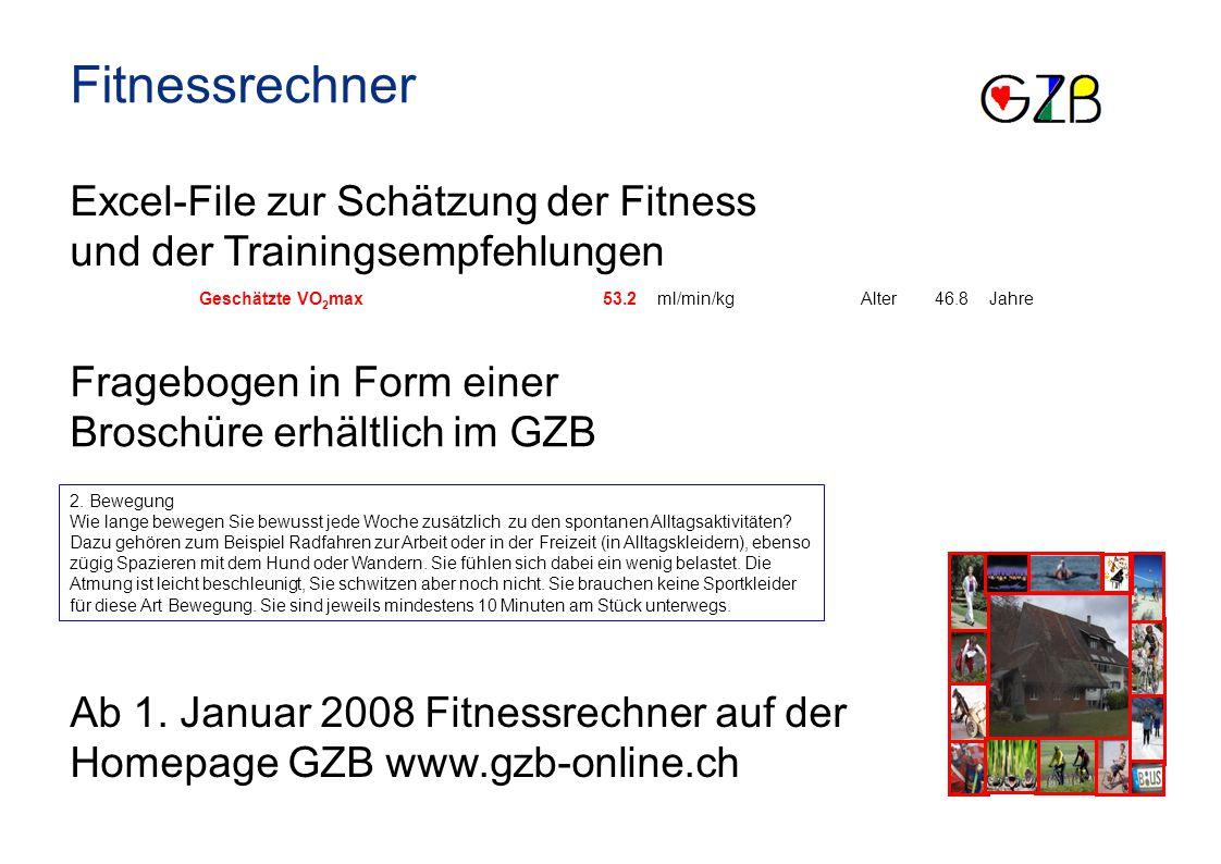 Fitnessrechner Excel-File zur Schätzung der Fitness und der Trainingsempfehlungen Fragebogen in Form einer Broschüre erhältlich im GZB Ab 1. Januar 20