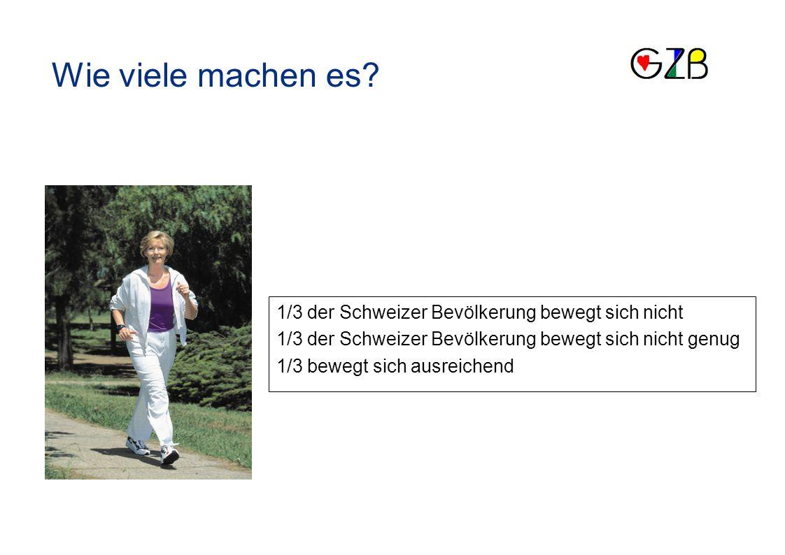 1/3 der Schweizer Bevölkerung bewegt sich nicht 1/3 der Schweizer Bevölkerung bewegt sich nicht genug 1/3 bewegt sich ausreichend Wie viele machen es?