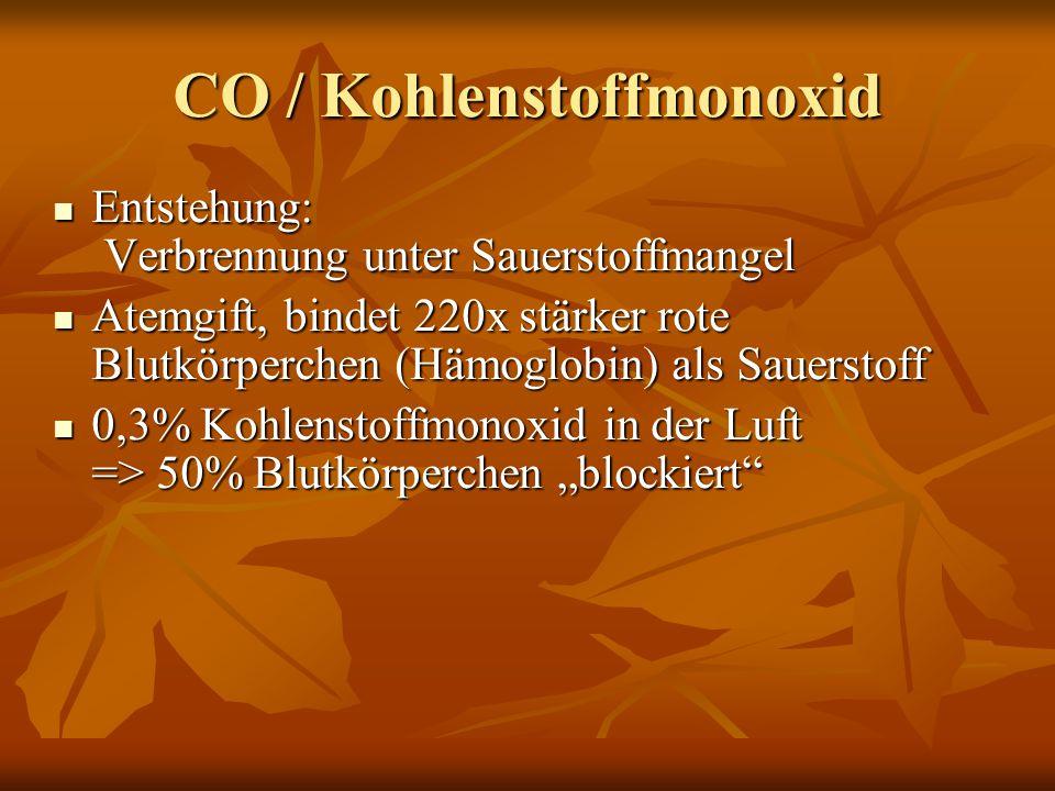 """CO / Kohlenstoffmonoxid Entstehung: Verbrennung unter Sauerstoffmangel Entstehung: Verbrennung unter Sauerstoffmangel Atemgift, bindet 220x stärker rote Blutkörperchen (Hämoglobin) als Sauerstoff Atemgift, bindet 220x stärker rote Blutkörperchen (Hämoglobin) als Sauerstoff 0,3% Kohlenstoffmonoxid in der Luft => 50% Blutkörperchen """"blockiert 0,3% Kohlenstoffmonoxid in der Luft => 50% Blutkörperchen """"blockiert"""