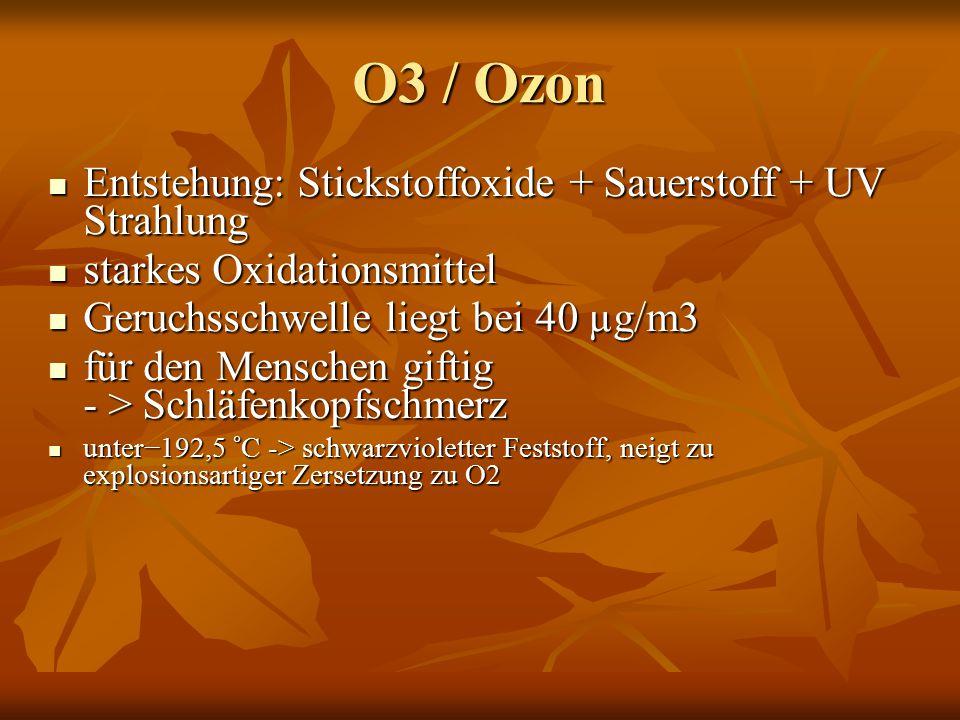 O3 / Ozon Entstehung: Stickstoffoxide + Sauerstoff + UV Strahlung Entstehung: Stickstoffoxide + Sauerstoff + UV Strahlung starkes Oxidationsmittel starkes Oxidationsmittel Geruchsschwelle liegt bei 40 µg/m3 Geruchsschwelle liegt bei 40 µg/m3 für den Menschen giftig - > Schläfenkopfschmerz für den Menschen giftig - > Schläfenkopfschmerz unter−192,5 °C -> schwarzvioletter Feststoff, neigt zu explosionsartiger Zersetzung zu O2 unter−192,5 °C -> schwarzvioletter Feststoff, neigt zu explosionsartiger Zersetzung zu O2