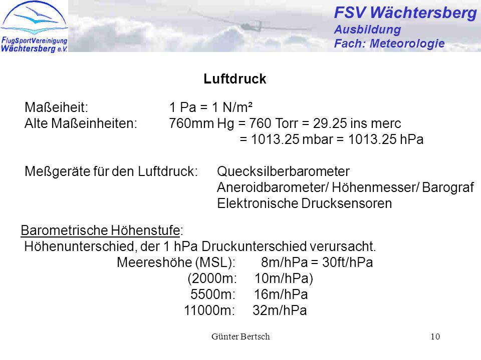 Günter Bertsch10 FSV Wächtersberg Ausbildung Fach: Meteorologie Luftdruck Barometrische Höhenstufe: Höhenunterschied, der 1 hPa Druckunterschied verur