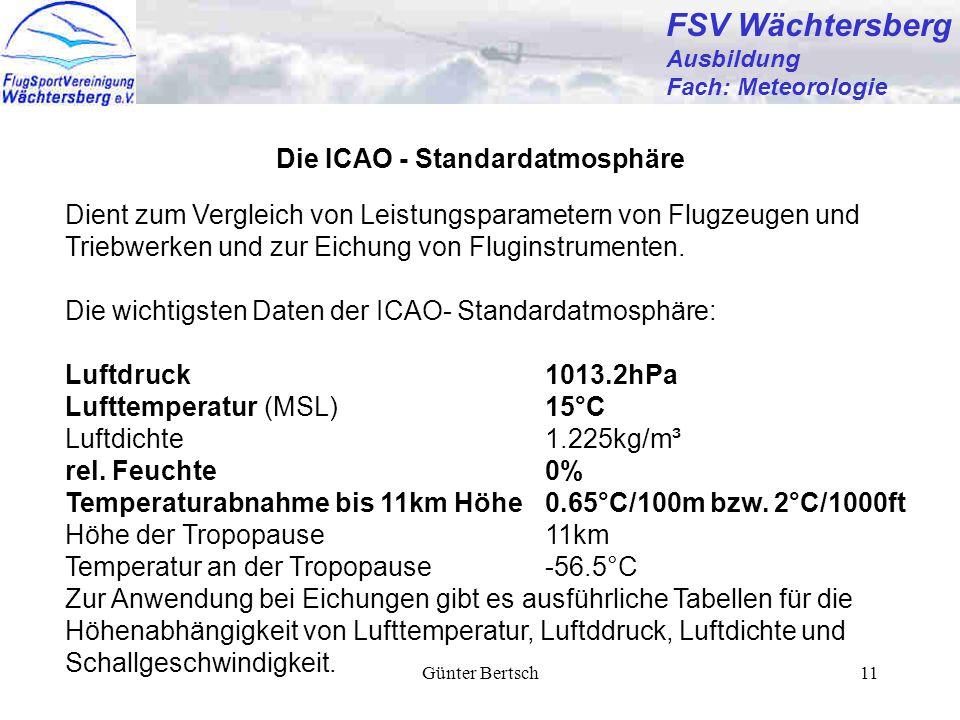Günter Bertsch11 FSV Wächtersberg Ausbildung Fach: Meteorologie Die ICAO - Standardatmosphäre Dient zum Vergleich von Leistungsparametern von Flugzeugen und Triebwerken und zur Eichung von Fluginstrumenten.