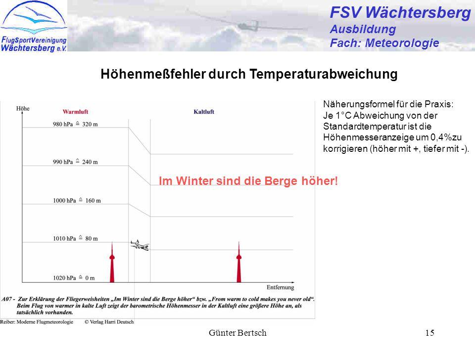 Günter Bertsch15 FSV Wächtersberg Ausbildung Fach: Meteorologie Höhenmeßfehler durch Temperaturabweichung Näherungsformel für die Praxis: Je 1°C Abweichung von der Standardtemperatur ist die Höhenmesseranzeige um 0,4%zu korrigieren (höher mit +, tiefer mit -).