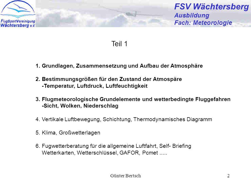 Günter Bertsch2 FSV Wächtersberg Ausbildung Fach: Meteorologie 1. Grundlagen, Zusammensetzung und Aufbau der Atmosphäre 2. Bestimmungsgrößen für den Z