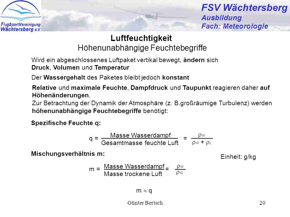 Günter Bertsch20 FSV Wächtersberg Ausbildung Fach: Meteorologie Höhenunabhängige Feuchtebegriffe Luftfeuchtigkeit Wird ein abgeschlossenes Luftpaket v
