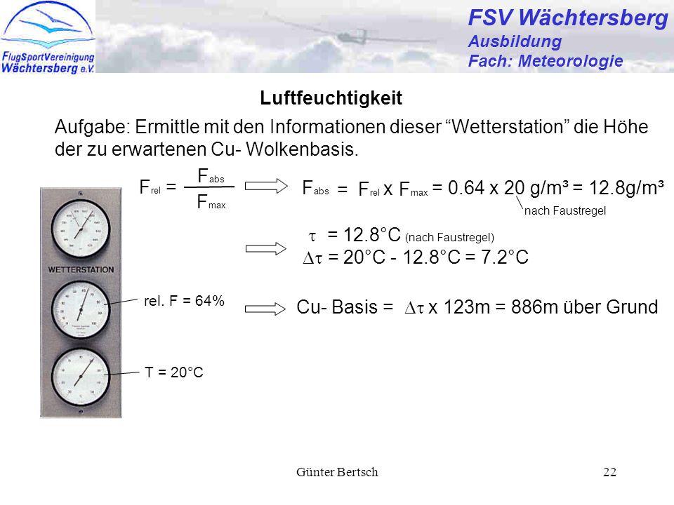 Günter Bertsch22 FSV Wächtersberg Ausbildung Fach: Meteorologie Luftfeuchtigkeit rel. F = 64% T = 20°C Aufgabe: Ermittle mit den Informationen dieser
