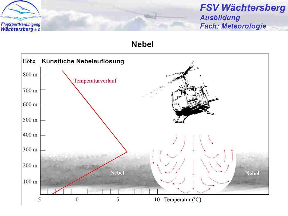 Günter Bertsch24 FSV Wächtersberg Ausbildung Fach: Meteorologie Nebel Nebelbildung:- Abkühlung der Luft bis zum Taupunkt (Strahlungsnebel) - Transport von warmer und feuchter Luft über ausgekühlte Landflächen (Advektionsnebel) - Zufuhr von Wasserdampf mit oder ohne gleichzeitiger Abkühlung der Luft (Mischungsnebel) Nebelauflösung:- Erwärmung der Luft durch Sonneneinstrahlung - Entzug von Wasserdampf durch Tau- oder Reifbildung - Vertikaler Luftaustausch durch Turbulenz.