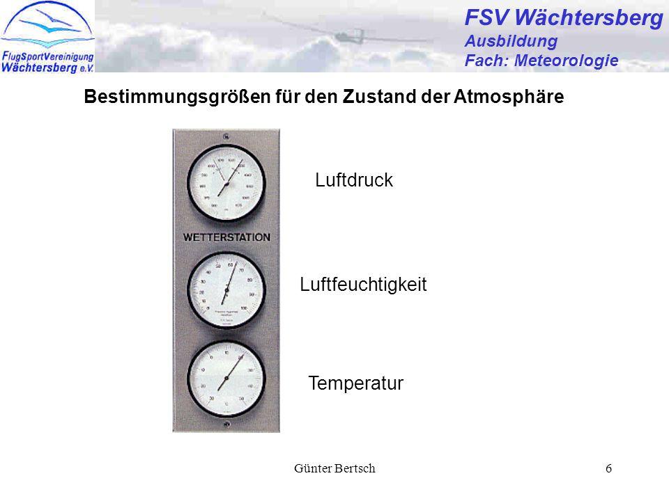 Günter Bertsch6 FSV Wächtersberg Ausbildung Fach: Meteorologie Bestimmungsgrößen für den Zustand der Atmosphäre Luftdruck Temperatur Luftfeuchtigkeit
