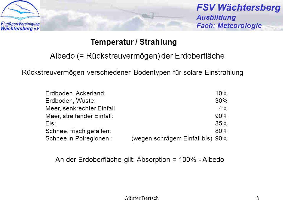 Günter Bertsch8 FSV Wächtersberg Ausbildung Fach: Meteorologie Temperatur / Strahlung Albedo (= Rückstreuvermögen) der Erdoberfläche Rückstreuvermögen
