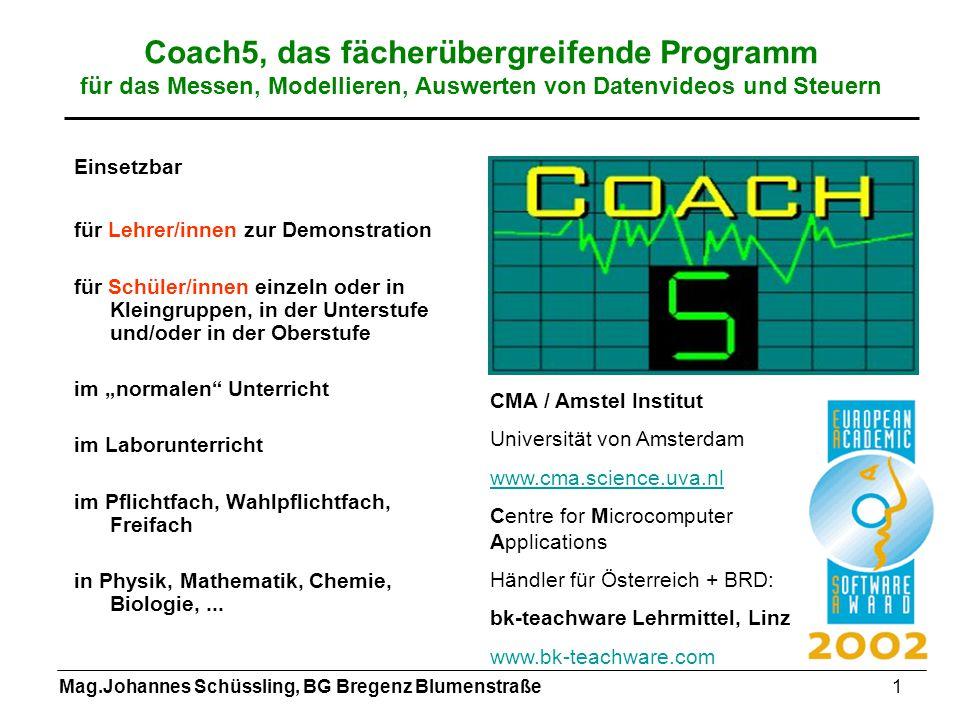 Mag.Johannes Schüssling, BG Bregenz Blumenstraße1 Coach5, das fächerübergreifende Programm für das Messen, Modellieren, Auswerten von Datenvideos und