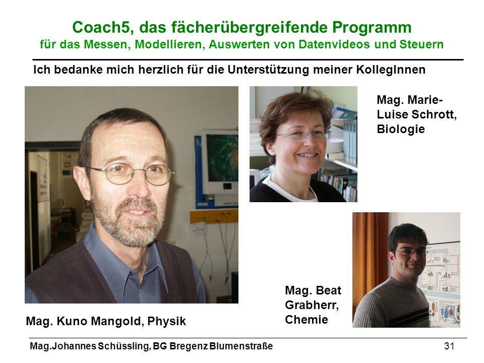 Mag.Johannes Schüssling, BG Bregenz Blumenstraße31 Coach5, das fächerübergreifende Programm für das Messen, Modellieren, Auswerten von Datenvideos und