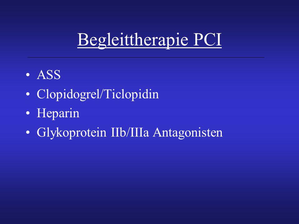 Begleittherapie PCI ASS Clopidogrel/Ticlopidin Heparin Glykoprotein IIb/IIIa Antagonisten