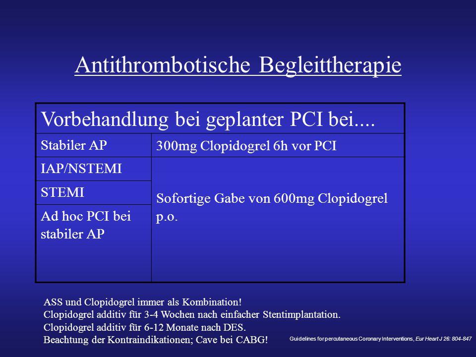 Antithrombotische Begleittherapie Vorbehandlung bei geplanter PCI bei.... Stabiler AP 300mg Clopidogrel 6h vor PCI IAP/NSTEMI Sofortige Gabe von 600mg