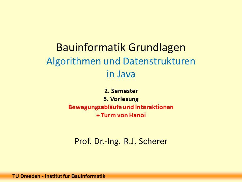 TU Dresden - Institut für Bauinformatik Objektmodell des Bewegungsablaufs 27.03.2015 12 Bewegung Bewegungsablauf Bewegungsgrößen Bewegungsrand- bedingungen Dyn.