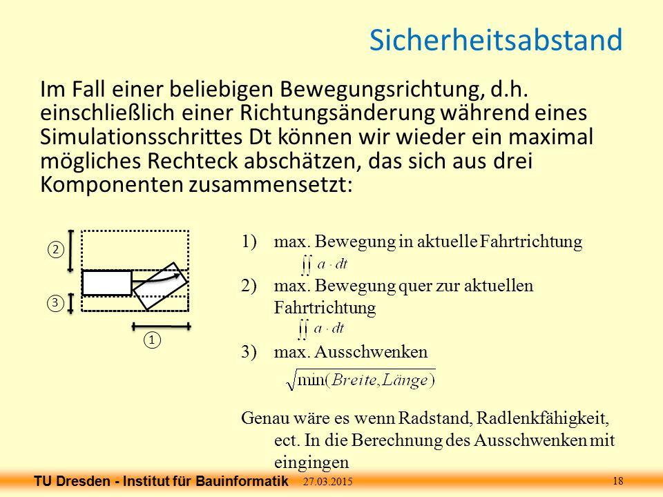 TU Dresden - Institut für Bauinformatik Sicherheitsabstand Im Fall einer beliebigen Bewegungsrichtung, d.h.