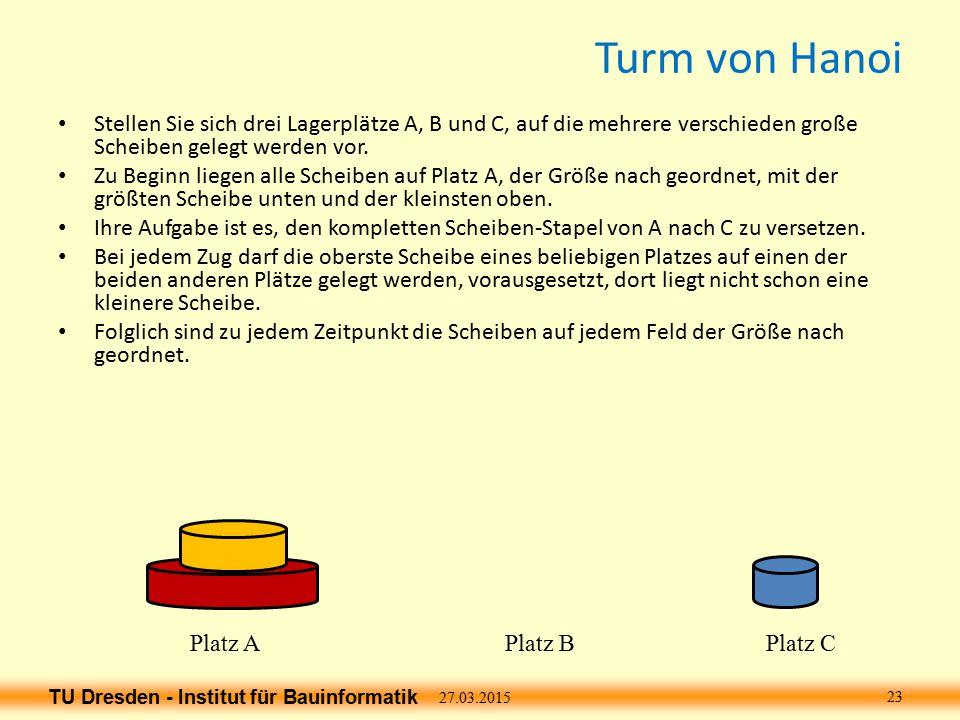TU Dresden - Institut für Bauinformatik Turm von Hanoi 27.03.2015 23 Platz APlatz BPlatz C Stellen Sie sich drei Lagerplätze A, B und C, auf die mehrere verschieden große Scheiben gelegt werden vor.