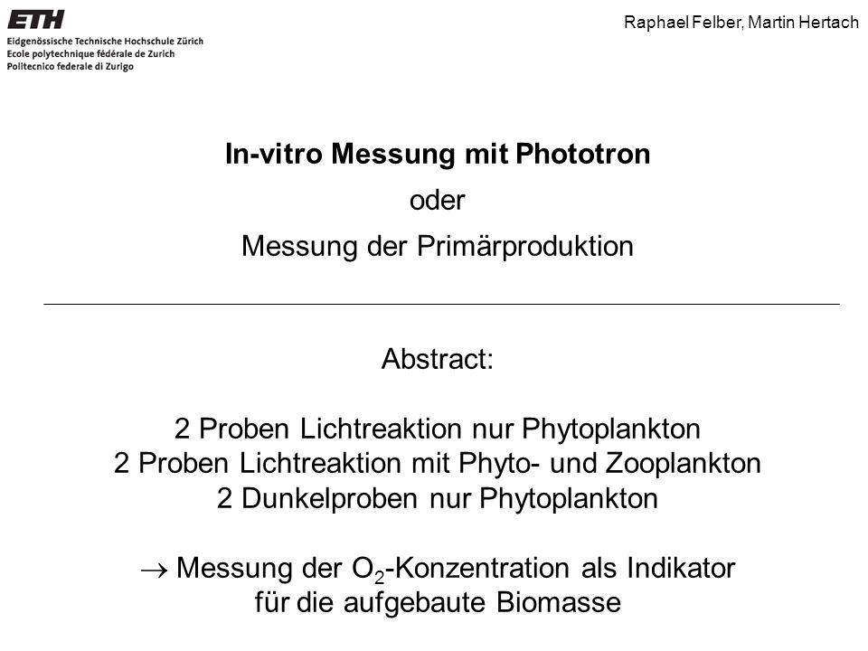 In-vitro Messung mit Phototron oder Messung der Primärproduktion Abstract: 2 Proben Lichtreaktion nur Phytoplankton 2 Proben Lichtreaktion mit Phyto-