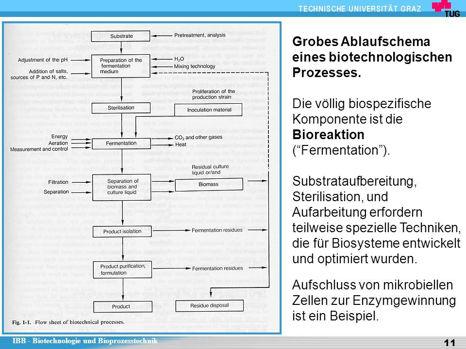 IBB - Biotechnologie und Bioprozesstechnik 11 Grobes Ablaufschema eines biotechnologischen Prozesses. Die völlig biospezifische Komponente ist die Bio