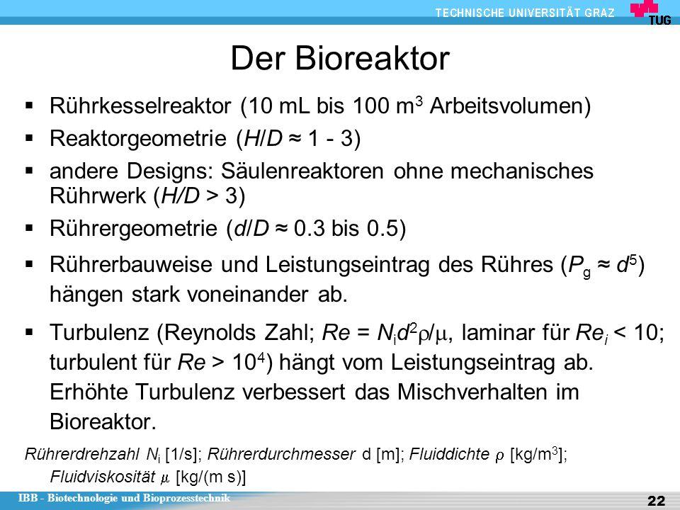 IBB - Biotechnologie und Bioprozesstechnik 22 Der Bioreaktor  Rührkesselreaktor (10 mL bis 100 m 3 Arbeitsvolumen)  Reaktorgeometrie (H/D ≈ 1 - 3) 