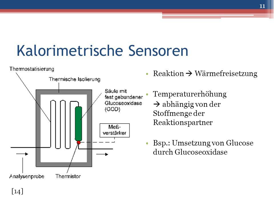 Kalorimetrische Sensoren Reaktion  Wärmefreisetzung Temperaturerhöhung  abhängig von der Stoffmenge der Reaktionspartner Bsp.: Umsetzung von Glucose