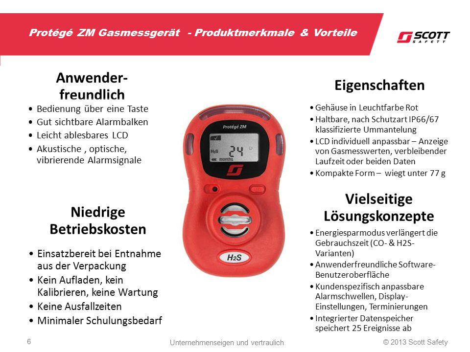 Protégé ZM Gasmessgerät - Produktmerkmale & Vorteile Anwender- freundlich Bedienung über eine Taste Gut sichtbare Alarmbalken Leicht ablesbares LCD Ak