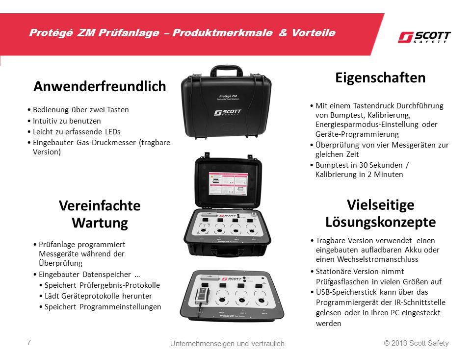 """Spezifikationen der Produktpalette Protégé ZM Gasmessgerät 3 Gase – O2 0-30 % 0,1 % – CO 0-300 1 ppm – H2S 0-100 1 ppm Optischer/akustischer/Vibrations- Alarm Energiesparmodus Li-Batterie – 2 Jahre Laufzeit Anpassbare Alarmschwellen Selbsttest bei Inbetriebnahme Zeigt Bump- / Kalibrierstatus an Datenspeicher erfasst 25 Ereignisse 76,5 g (2,7 oz.) IP 66/67 (Zertifizierung durch unabhängiges Prüfinstitut) Atex-, IECEx-, ETL-Zulassungen Prüfanlage Einsatz zur Funktionsprüfung, Kalibrierung, Energiesparmodus-Aktivierung und Programmierung Aufladbarer Li-Akku mit Wechselstromadapter 1000 Prüfzyklen mit geladenem Akku Prüft 4 Geräte gleichzeitig Funktionsprüfung """"Bumptest <30 Sek."""