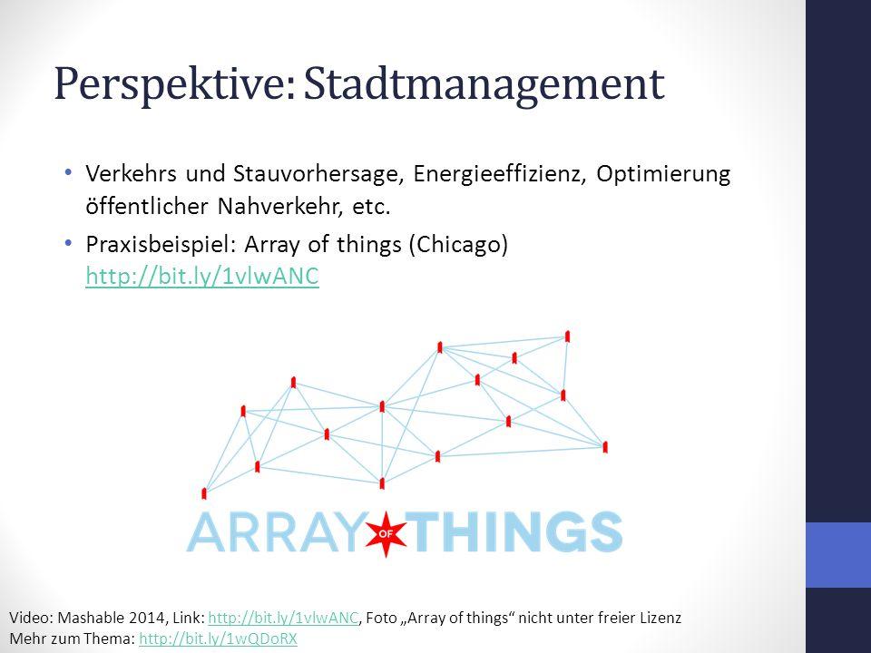 Perspektive: Stadtmanagement Verkehrs und Stauvorhersage, Energieeffizienz, Optimierung öffentlicher Nahverkehr, etc.