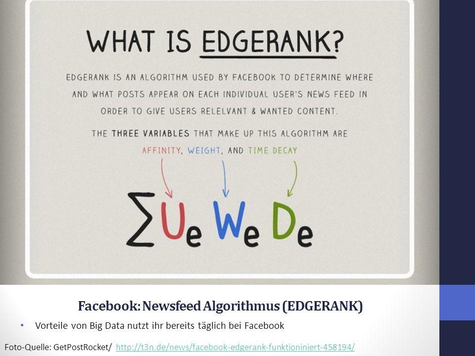 Facebook: Newsfeed Algorithmus (EDGERANK) Vorteile von Big Data nutzt ihr bereits täglich bei Facebook Foto-Quelle: GetPostRocket/ http://t3n.de/news/facebook-edgerank-funktioniniert-458194/http://t3n.de/news/facebook-edgerank-funktioniniert-458194/