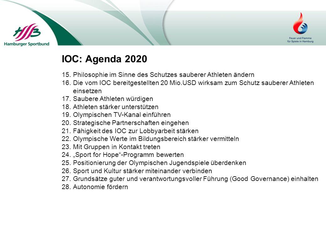 IOC: Agenda 2020 15.Philosophie im Sinne des Schutzes sauberer Athleten ändern 16.Die vom IOC bereitgestellten 20 Mio.USD wirksam zum Schutz sauberer