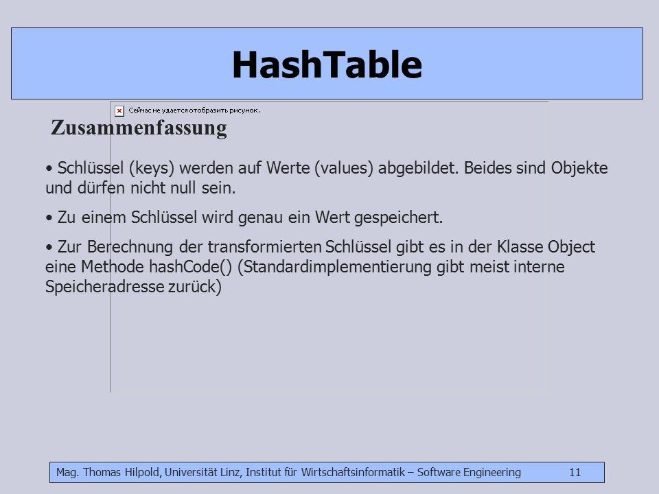 Mag. Thomas Hilpold, Universität Linz, Institut für Wirtschaftsinformatik – Software Engineering 11 HashTable Zusammenfassung Schlüssel (keys) werden
