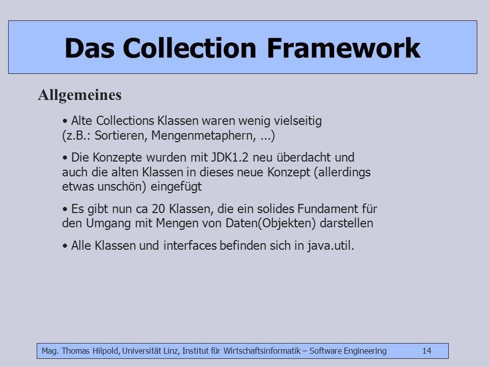 Mag. Thomas Hilpold, Universität Linz, Institut für Wirtschaftsinformatik – Software Engineering 14 Das Collection Framework Allgemeines Alte Collecti