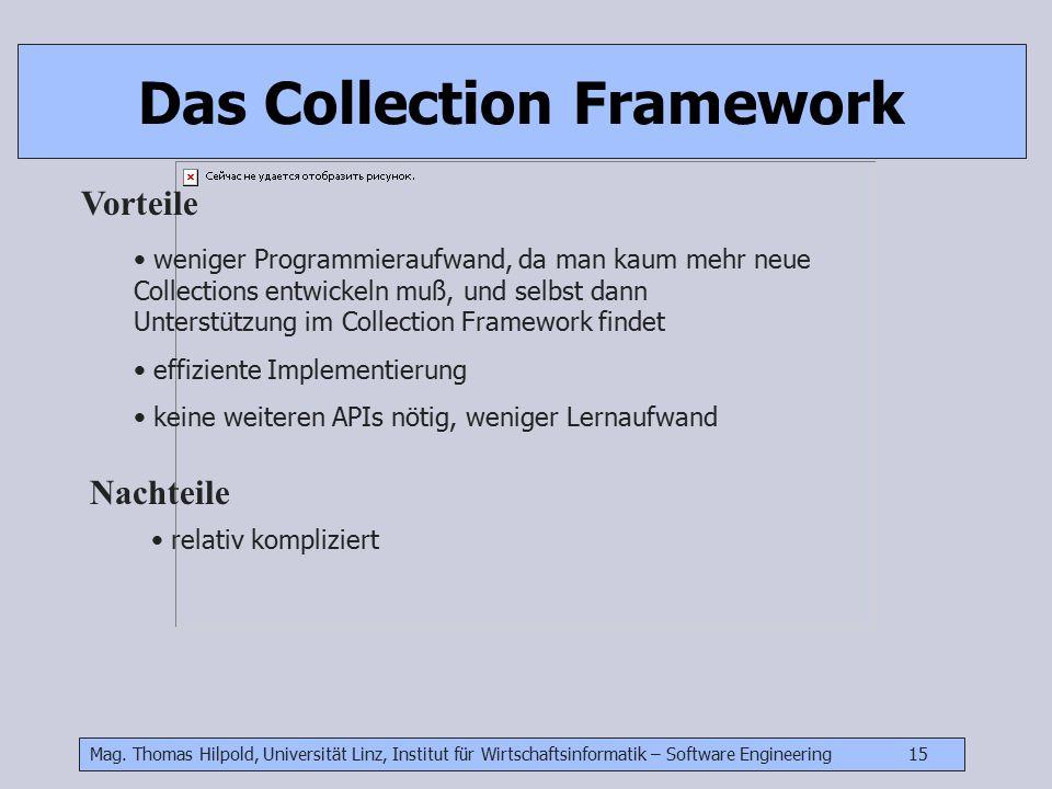Mag. Thomas Hilpold, Universität Linz, Institut für Wirtschaftsinformatik – Software Engineering 15 Das Collection Framework Vorteile weniger Programm