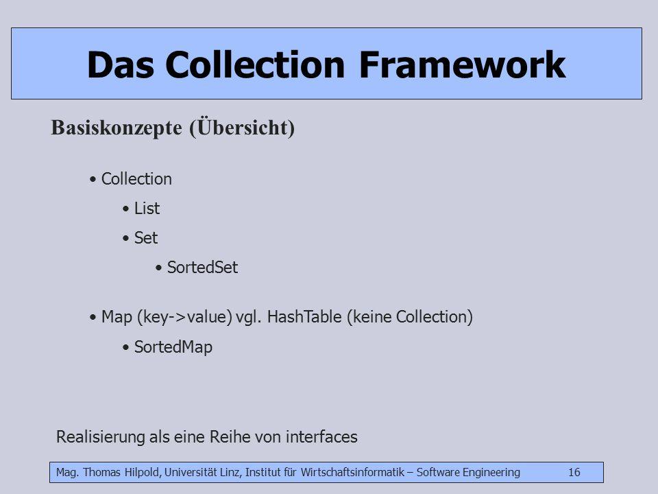 Mag. Thomas Hilpold, Universität Linz, Institut für Wirtschaftsinformatik – Software Engineering 16 Das Collection Framework Basiskonzepte (Übersicht)